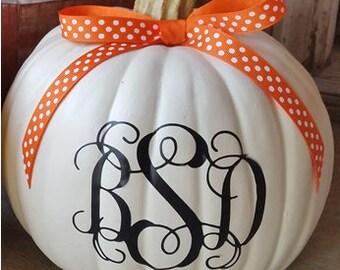 1 Monogrammed Pumpkin Decal - Personalized -  Halloween Decorations - 3 Letter Monogram - Vinyl Decal Stickers - Halloween-Monogrammed Decal