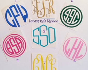 "3"" Vinyl Monogram -Decal Stickers -Personalized Monogram Decal -Initial Monograms -Laptop Decal - 3"" Monogrammed Letters-Water Bottle Decal"