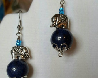 Lapis and Silver Elephant Earrings