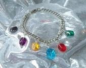 Legend of Zelda Rupees Charm Bracelet Glass Bead Charms Custom Handmade by TorresDesigns - Ready To Ship