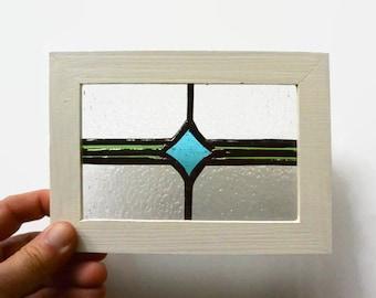 Stained Glass Miniature Window in Green & Turquoise Diamond Suncatcher