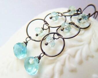 3DAY SALE Blue Aquamarine dangle earrings. March Birthstone earrings. Wire wrapped. Drop earrings. Oxidized silver earrings. Urban chic