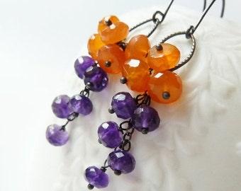 3DAY SALE Orange Carnelian and purple Amethyst cluster earrings. February birthstone earrings. Amethyst earrings. Orange Carnelian. Purple a