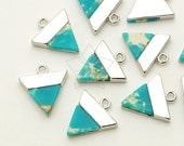 PD-1405-OR / 2 Pcs - Gemstone Metal Mix Pendant, Sky Blue Marble Inverted Triangle Charm, Silver Plated over Brass / 12mm x 13mm