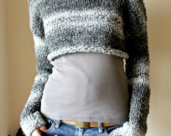 Grey Multicolor Cropped Sweater, Chunky Women Crop Sweater, Hand Knitted Grey Crop Sweater, Long Sleeves Sweater, Very Soft Wool Pullover,