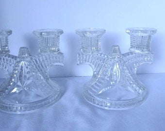 Clear Pressed Glass Pair of Candle Holders Home and Garden Decor Candle Holders
