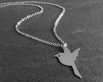 Bird Necklace Silver, Sparrow Necklace, Gift for Wife