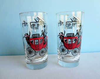Vintage Horse and Carriage Glasses - Tumblers - Drinking Glasses - Libbey Glasses