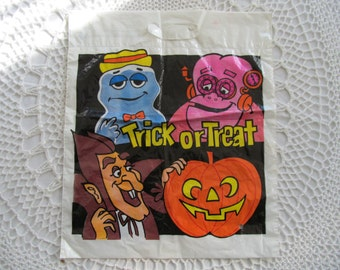 Vintage Halloween Trick or Treat Bag Count Chocula Frankenberry Boo Berry Plastic Sack Cereal Very Rare