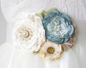 Floral Bridal Sash with Light Blue, Ivory and Yellow Fabric Flowers, Bridal Belt, Colorful Wedding Sash, Beach Wedding Sash, Pearl Sash