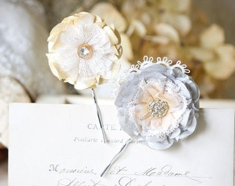 Bridal Hair Flower, Floral Bobby Pins, Bride Hair Pins, Silver Grey and Yellow Hair Flowers, Wedding Hairpiece, Fabric Hair Flowers