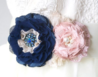 Wedding Dress Belt with Fabric Flowers in Navy Blue and Blush Pink, Bridal Sash, Floral Sash, Vintage Wedding Sash, Blue Pink Flower Belt
