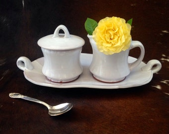 Handmade Cream and Sugar Set with Serving Tray, White Pottery Set, Handcrafted Ceramic Slab Built Tray and Jar, Matching Set.