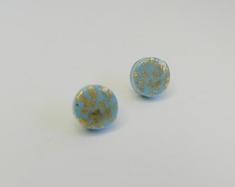 Blue Round Stud Earrings Blue Round Post Earrings Blue Circle Stud Earrings Blue Stud Earrings Polymer Clay Earrings Hand Made