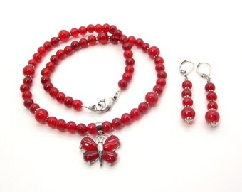 The Red Butterfly Necklace and Earring Set, Red Agate Necklace and Earring Set, Red Necklace and Earrings