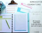 ORGANIZE - Clean Mama's HOMEKEEPING FOUNDATIONS Kit - 40+ documents standard, editable/fillable, and half size included - Instant Download
