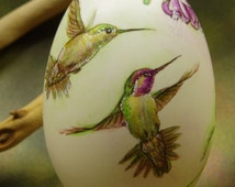 Hand Painted Egg, Hummingbirds and Flowers, Lovely Saying, Hand Painted Goose Egg Shell, Egg Art