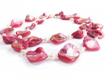 Pink Shell Necklace, Sterling Silver Clasp, Fuchsia Shell Beads, Pale Pink Pearls, Pink Abalone, Mother of Pearl, Natural Shell Necklace