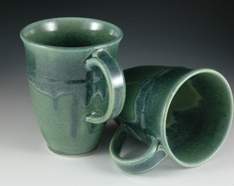 One Pair - 12 oz  Elegant Light Teal Blue Ceramic Coffee Mug - Stoneware pottery