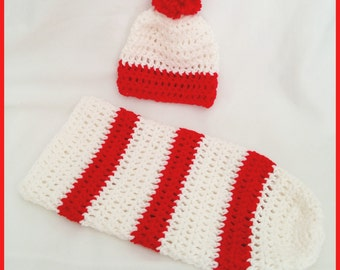 Candy Cane/Baseball set-Crocheted Hat and Cacoon Set