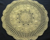 Large Crocheted Decorative Lace Doily, Light Ecru Table Topper Doily, Vintage Hand Crocheted Doily, Scalloped Centerpiece Doily