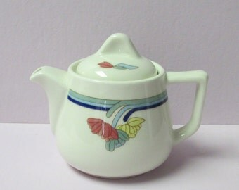 1980's Art Deco Style Rego Rego Trio Small Teapot white with dark and light blue stripes below the rim