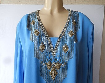 """Vintage George Allette  Beaded Dress  Glass Beads Made In Hong Kong size 24 Tie Belt  Lined  Long Sleeves 3"""" beaded cuffs"""