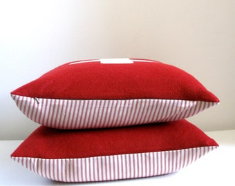 Wool Pillow Covers - red and white - 18x18 - Set of TWO - first aid - swiss army cross  - Made in Oregon - ready to ship