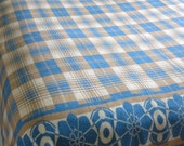 Vintage Esmond Cotton Camp Blanket - Double Length - Warm Tan Blue and White Plaid - Floral Border