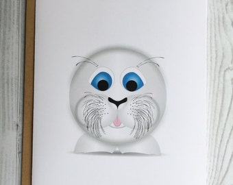 Lil' Seal Card, Invitation, Blank Card, Greeting Card, All Occasion Card