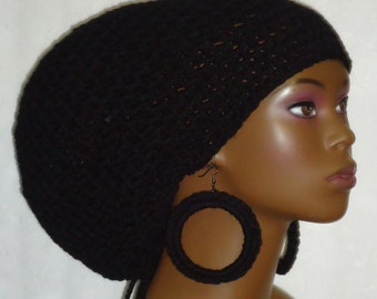 Black Crochet Large Tam with Drawstring and Earrings Dreadlocks All Razonda Lee Razondalee