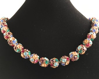 Art Deco Jewelry, Art Deco Necklace, Vintage Jewelry, Rhinestone Necklace, Beaded Necklace, Colorful Vintage Necklace, Disco Ball Beads