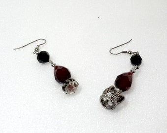Clearance - Mismatched Shabby Chic Red Earrings