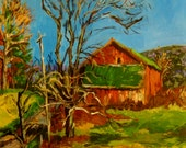 Landscape Painting PRINT, Red Barn, Countryscape, Print of original painting, 8X10 Hand-signed Ready To Frame Artwork by Patty Fleckenstein