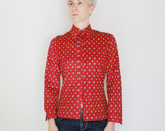 Vintage 70's button down shirt, red with blue, yellow, white, & black pattern, funky disco shirt, women's, Jack Winter brand, polyester - M