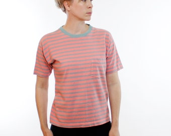 Vintage 90's GAP brand pocket t-shirt, salmon pin with light gray & yellow stripes, boxy fit - Small