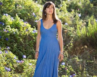 Long Blue Linen Dress/Maxi/Pure Linen/Bright Blue/Crinkled Linen/Summer Dress/Wedding/Handmade
