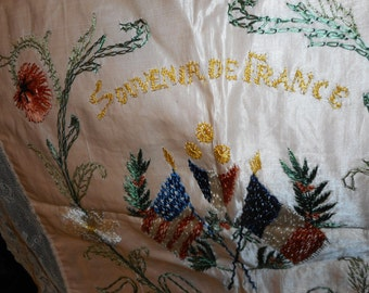Souvenir de France Silk and Lace Panel Antique Bed Decor (FFs1045)
