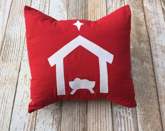 Red Nativity Pillow cover