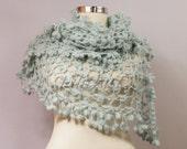 Blue Shawl, Bridal Shawl Wrap, Crochet Shawl, Lace Shawl, Wedding Shrug Bolero, Mint Blue Triangle Shawl Wedding Accessories Bridal Cover Up