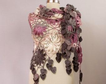 Boho Flower Shawl, Crochet Shawl Scarf, Crochet Lace Shawl, Wedding Shawl, Wrap, Bridal Shrug Bolero, Multicolor, Lilac Charcoal Grey Shawl