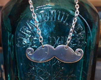 Steampunk Silver Shiny Mustache Unisex Sophisticated Gentleman Accessory Necklace