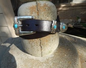 Black one Inch wide Southwestern Style Belt w/ Turquoise Stones