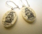 Scrimshaw Earrings with Whaling Ship Design