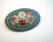 Micro Mosaic Flowers Oval Brooch Italy - Teal Pink White Green