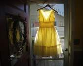 1960s Yellow Tulle Ballerina Cupcake Prom Dress - Small - For Costume Use