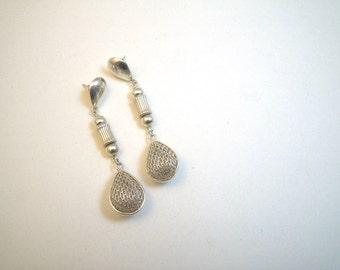 Sterling Silver Mesh Teardrop Dangle Earrings - Posts - Long