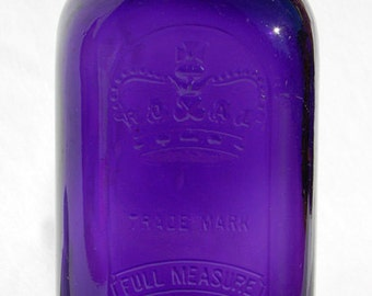 GIGANTIC deep purple 1896 dated ROYAL fruit canning jar Square and Pristine PURPLE and all original -