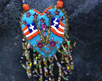 70s Beaded Indian Necklace                    International Shipping