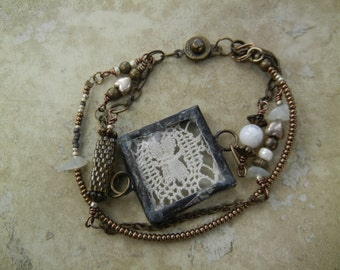 Brass Chain and Glass Bracelet